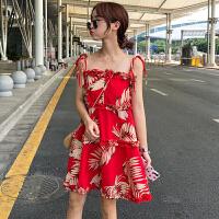 连衣裙女夏新款韩版女装树叶印花无袖宽松娃娃裙木耳边红色吊带裙
