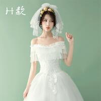 婚纱头纱新娘超仙森系唯拍照婚纱新款韩式带发梳短款结婚头饰 60cm以下