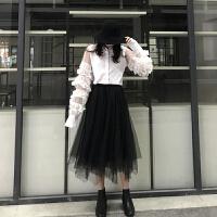 套装女春装2019新款荷叶边长袖网纱拼接衬衫高腰蓬蓬半身裙两件套