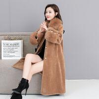 羊剪绒大衣女2018新款冬毛领斗篷显瘦中长款颗粒皮草外套