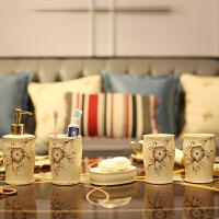 欧式家居创意摆件象牙陶瓷器鎏金描金卫浴五件套装牙刷架浴室用品
