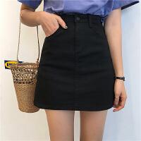 夏季新款牛仔半身裙短裙女韩版高腰显瘦黑色A字裙学生百搭裙子潮