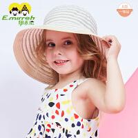 婴儿宝宝薄款渔夫帽夏季儿童遮阳帽大檐公主风女童帽子太阳帽