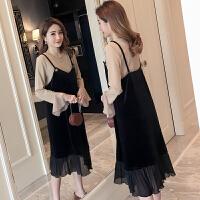 孕妇连衣裙2018秋季新款时尚韩版喇叭长袖上衣+吊带孕妇裙两件套