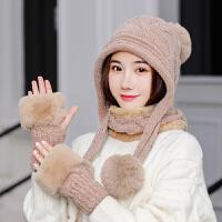 冬季女帽子围巾手套三件一体套装学生儿童可爱围巾加厚帽保暖毛绒