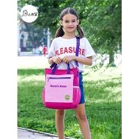 女童公主斜挎包美术工具包小学生书包补习袋儿童补课包手提袋