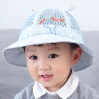 男童可爱儿童遮阳帽1-2岁女孩网眼渔夫帽宝宝帽子春秋季薄款盆帽