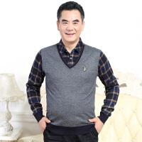 2017冬季加绒休闲 加厚衬衣领时尚休闲男士休闲韩版百搭针织衫