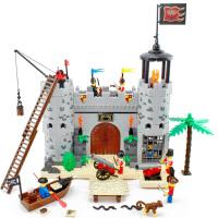启蒙 海盗城堡劫兵营 拼装积木塑料拼插益智力玩具