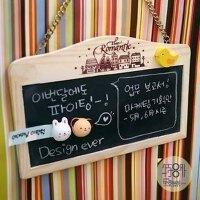 韩国田园留言板 原木挂链式 磁性小黑板 白板挂式双面黑板