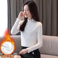 秋冬装新款加绒加厚蕾丝衫女长袖打底衫韩版修身立领上衣8057