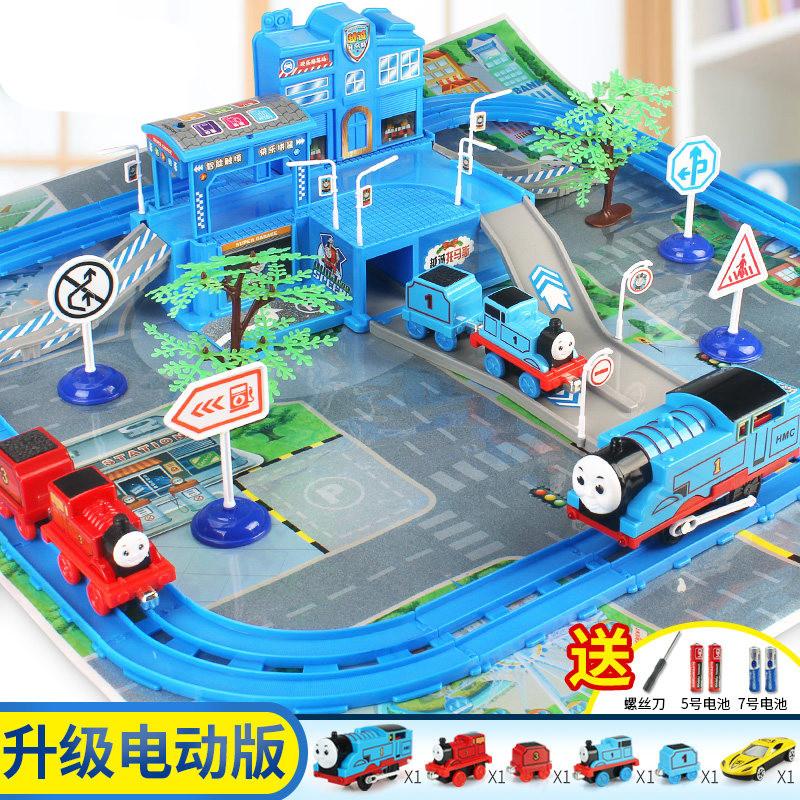 托马斯儿童停车场惯性电动轨道小火车大汽车合金套装男孩玩具