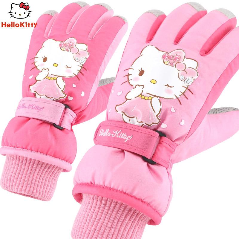 【到手价:42元】hellokitty凯蒂猫女童秋冬季滑雪手套中大童保暖防水手套儿童小女孩五指手套 拉毛 防水保暖