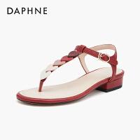 达芙妮2020夏季新款凉鞋女粗跟仙女风高跟露趾甜美爱心一字扣百搭