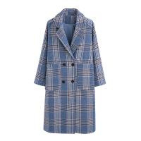 流行毛呢大衣女中长款秋冬装新款韩版百搭宽松格子呢外套