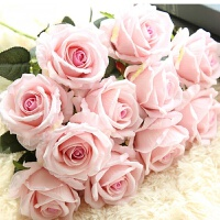 单支仿真玫瑰花假花套装客厅餐桌装饰花干花花束摆件摆设花艺
