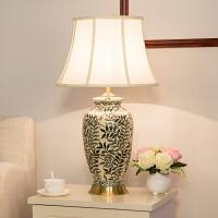 中式古典陶瓷台灯美式彩绘卧室床头客厅装饰台灯欧式奢华复古创意陶瓷台灯装饰 陶瓷台灯
