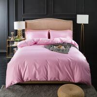四件套纯棉全棉60支纯色被套1.8米双人床上用品简约素色床单被罩定制
