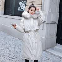 中长款过膝棉衣女冬装新款韩版时尚羽绒外套宽松加厚棉袄 米白 M