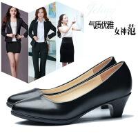 正装高跟鞋女学生礼仪女士皮鞋中跟粗跟面试春秋职业工作鞋女黑色