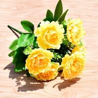 仿真牡丹花客厅餐桌花束插花摆设绢花摆件假花装饰塑料花干花布花