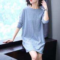秋冬季新款大码女装宽松套头毛衣胖200斤韩版蝙蝠袖针织打底衫