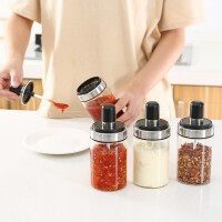 玻璃带勺调味瓶防潮盐罐调料罐厨房密封调味料瓶一体式调料瓶套装