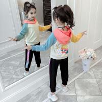 2019新款时髦童装小女孩洋气卫衣中大童运动两件套女童秋装套装