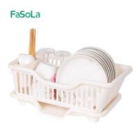 FaSoLa 洗碗架沥水架 滴水碗架厨房置物架晾碗盘筷子收纳架碟架 白色