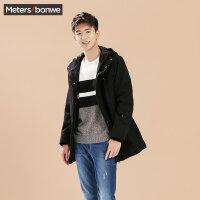 【1件3折到手价:59.97】美特斯邦威毛呢大衣男士冬装中长款连帽保暖外套韩版学生青年潮