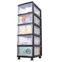 儿童玩具收纳箱透明多层整理箱储物柜书箱婴儿衣物零食收纳柜 1个
