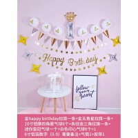 生日布置儿童 宝宝百天周岁主题派对横幅拉旗气球套餐背景墙装饰品o