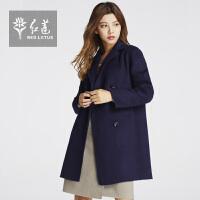 红莲2015冬装新款女装西装领羊绒大衣女中长款双排扣纯色毛呢外套