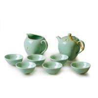 陶瓷故事 恒福 青瓷茶具套装 古印纹八件套功夫茶具组 天圆地方 梅子青