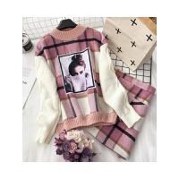 格子套装女秋冬新韩版美女贴图拼毛线卫衣两口袋半身裙两件套