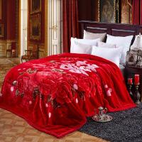 四季大红婚庆毛毯双层加厚盖毯*保暖绒毯双人大床2.2米w定制
