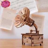 复古木质留声机 音乐盒八音盒 创意摆件 diy送女生生日儿童节日礼物 复古色