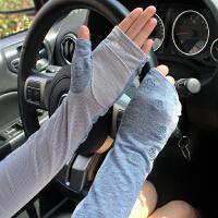 夏天亚麻半指防晒手套 女夏季开车防滑护手臂袖套
