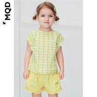 【2件3折:198】MQD女小童短袖网纱套装2020夏季新款苹果绿立体图案网格两件套潮
