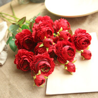 仿真牡丹花玫瑰花束婚庆家居客厅落地装饰干花假花绢花插花摆件