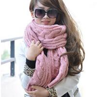 韩国粗秋冬天保暖可爱米色/粉色加厚长款麻花毛线围巾女