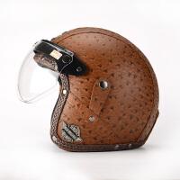 春夏棕色电动机车头盔半盔 哈雷复古太子摩托车3/4头盔皮盔男