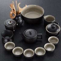 【新品热卖】家用简约现代客厅办公整套黑陶茶壶茶杯日式功夫陶瓷茶具套装