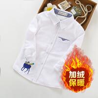 男童加绒白衬衫儿童冬季长袖白色衬衣中大童学生演出服校服