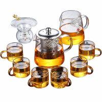 唐丰高硼硅玻璃套装家用镶银游龙单壶三件套泡茶壶功夫茶道饮茶器