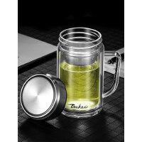 双层玻璃杯带把茶杯男士办公室杯子带盖过滤大容量家用泡茶水杯