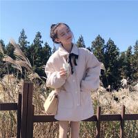 2018流行呢子大衣女秋冬新款韩版宽松加厚中长款森系毛呢外套学生 米杏色外套 均码