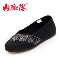 内联升女千层底毛料花边时尚休闲鞋 老北京布鞋 8702A