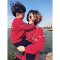 母女装外套亲子毛衣母子母女装秋冬款2018新款潮 男童韩版刺绣加厚套头外套MYZQ88 红色 粗棒针加厚毛衣