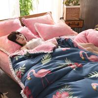 冬季加厚法莱绒四件套珊瑚绒法兰绒床单床笠双面被套加绒床上用品定制
